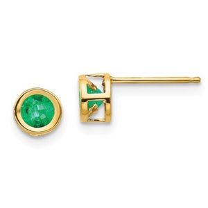 Emerald Stud Earrings 14k yellow Gold Bezel set